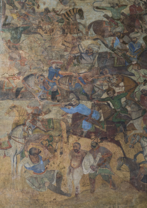 Colorful old mural painting, Isfahan province, Isfahan, Iran