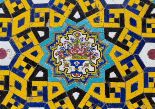 Mosaic pattern with ceramic tiles, Isfahan province, Isfahan, Iran