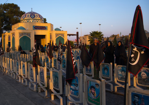 Black flags to commemorate muharram in the rose garden of martyrs cemetery, Isfahan province, Isfahan, Iran