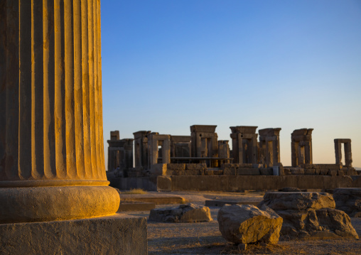 Ancient columns in the gate of all nations in persepolis, Fars province, Marvdasht, Iran
