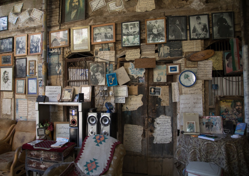 Cafe with the wall decorated with poems and old pictures, Fars Province, Shiraz, Iran