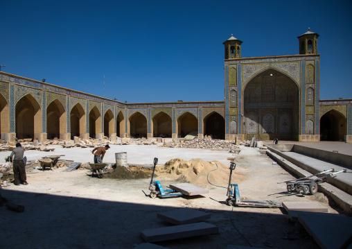 Men working for Vakil mosque restoration, Fars Province, Shiraz, Iran