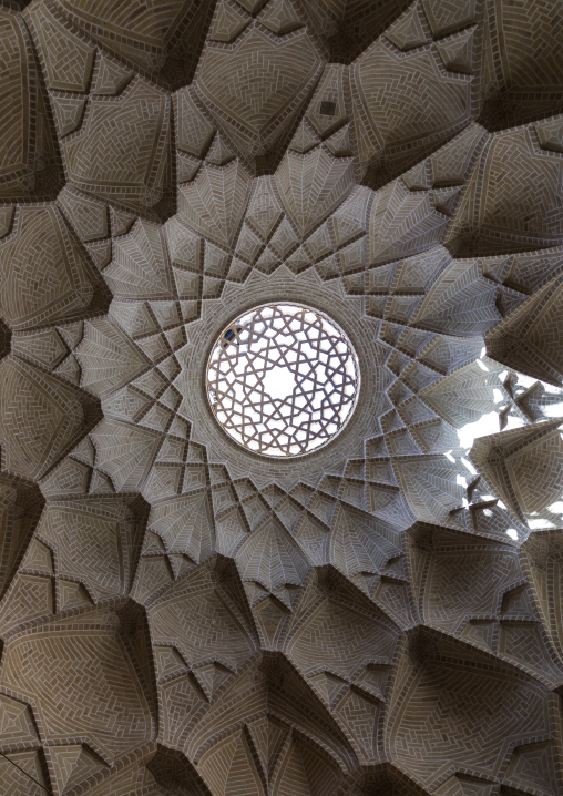 Ceiling with its intricate and elaborate patterns in the bazaar, Yazd Province, Yazd, Iran