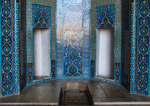Jameh masjid or friday mosque mihrab with dedicated doors for men and women, Yazd province, Yazd, Iran