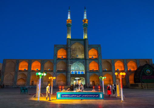 Ayatollah Khomeini memorial in front of the three-storey takieh part of the Amir chakhmaq complex, Yazd Province, Yazd, Iran
