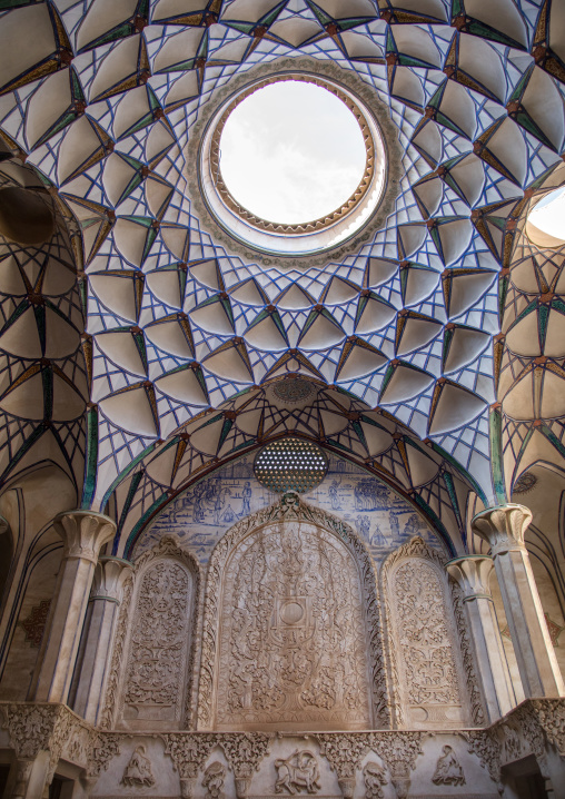 A beautifully adorned ceiling of the hall  in boroujerdi historical house, Isfahan province, Kashan, Iran