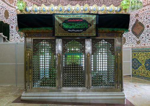 Grave in the Shrine of sultan Ali decorated for Muharram, Kashan County, Mashhad-e Ardahal, Iran