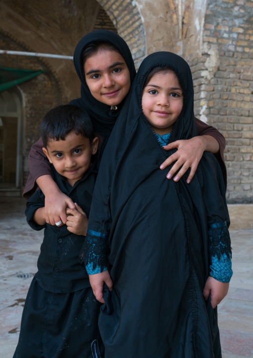Portrait of children in shrine of sultan ali, Kashan county, Mashhad-e ardahal, Iran