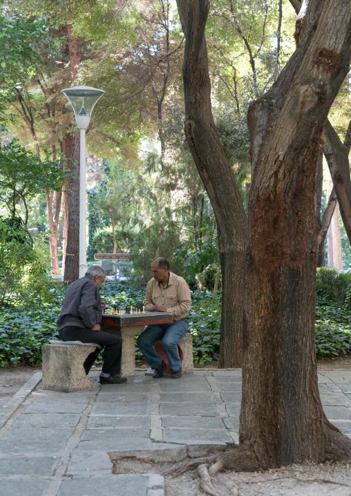 Iranian men playing chess in a park, Isfahan province, Isfahan, Iran