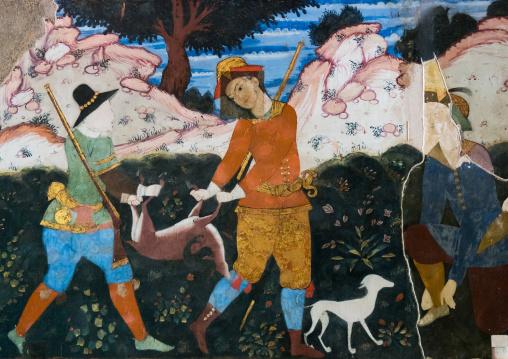 Fresco in chehel sotoun forty columns palace, Isfahan province, Isfahan, Iran