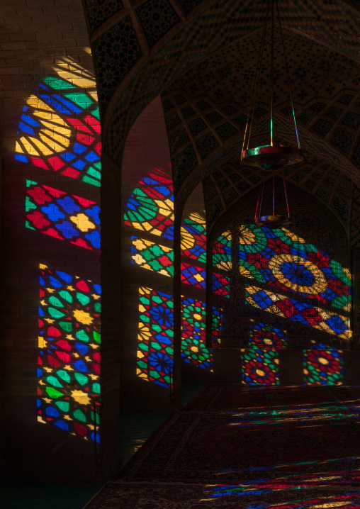 The pillars of nasir ol molk mosque with its beautiful colors, Fars province, Shiraz, Iran