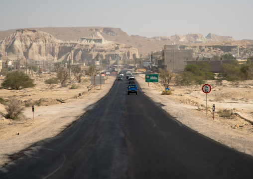 Asphalt road in the desert, Qeshm island, Salakh, Iran