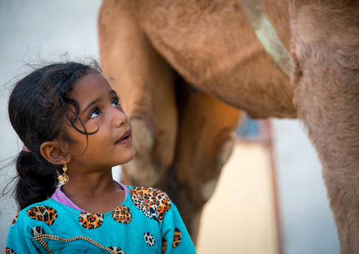 young girl in blue dress looking at a camel, Qeshm Island, Salakh, Iran
