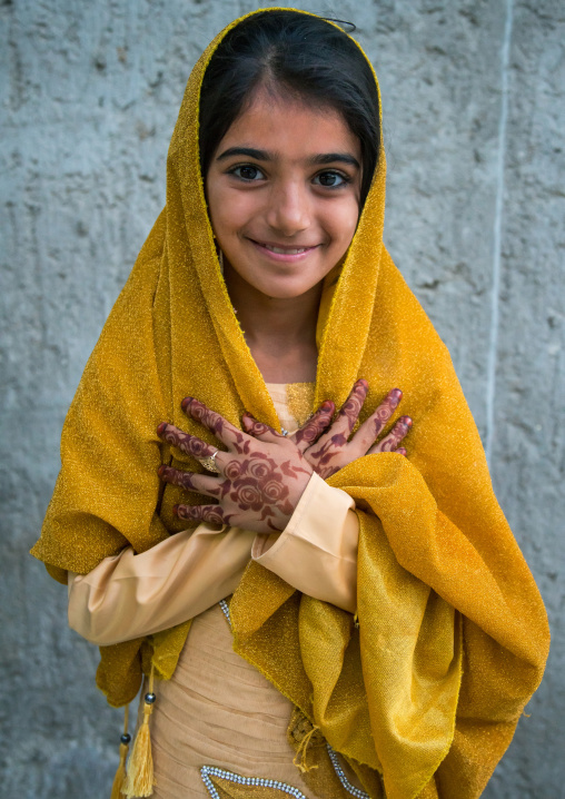 little girl with henna on the hands for a traditional wedding, Qeshm Island, Salakh, Iran