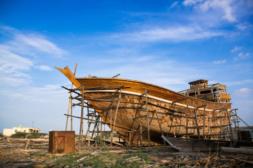 Traditional ships called lenj being built, Qeshm island, Salakh, Iran