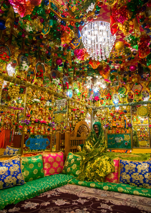 bride in the decorated room for traditional wedding, Hormozgan, Bandar-e Kong, Iran