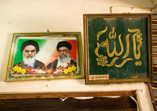 Portraits of khameini and khomeini in a house, Hormozgan, Bandar-e kong, Iran