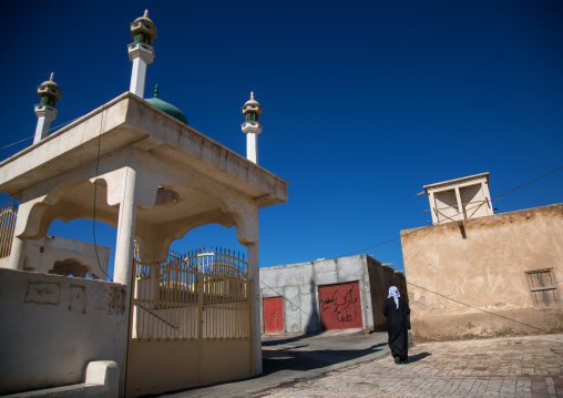 Mosque and wind tower in the old town, Hormozgan, Bandar-e kong, Iran