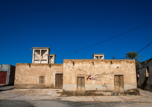 wind towers used as a natural cooling system in iranian traditional architecture, Hormozgan, Bandar-e Kong, Iran