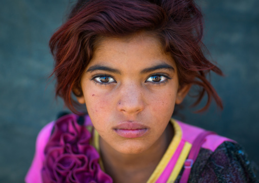gypsy girl with red hair, Central County, Kerman, Iran