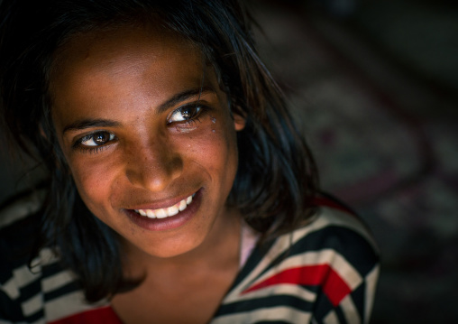 smiling gypsy teenage girl, Central County, Kerman, Iran