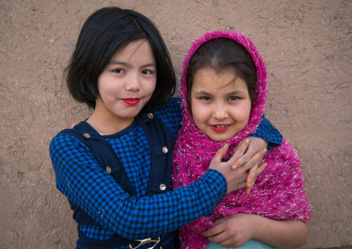 Afghan refugee girls with lipstick, Central county, Kerman, Iran