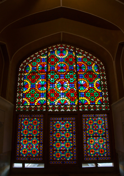 the stained glass windows of the wind tower in dolat abad, Central County, Yazd, Iran