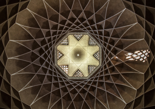 Ceiling with its intricate and elaborate patterns in dolat abad garden pavillon, Central county, Yazd, Iran