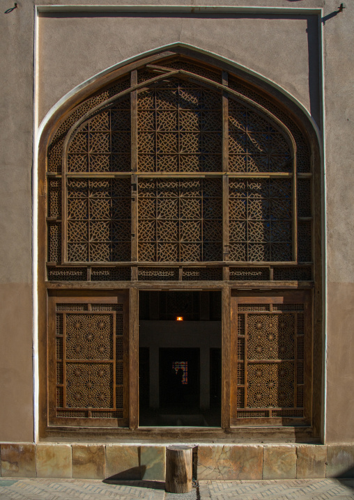 Wind tower entrance in dolat abad garden, Central county, Yazd, Iran
