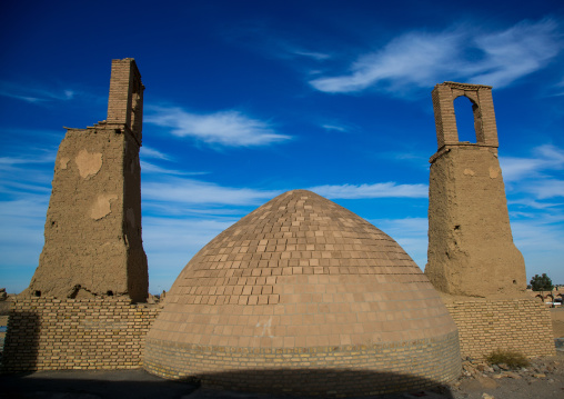 Wind towers used as a natural cooling system for water reservoir, Ardakan county, Aqda, Iran
