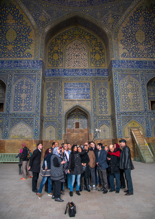 tourists taking a selfie picture inside ameh masjid or friday mosque, Isfahan Province, isfahan, Iran