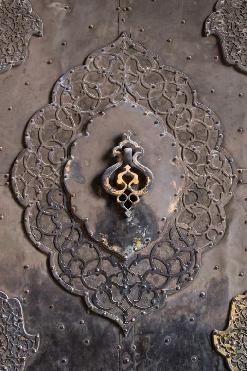 Ancient doorknocker in a mosque, Isfahan province, Isfahan, Iran