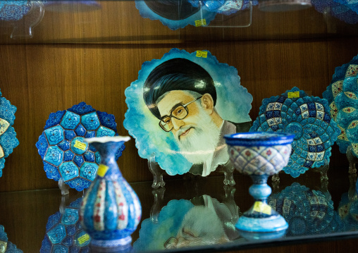 Khameini plate for sale in bazaar, Isfahan province, Isfahan, Iran
