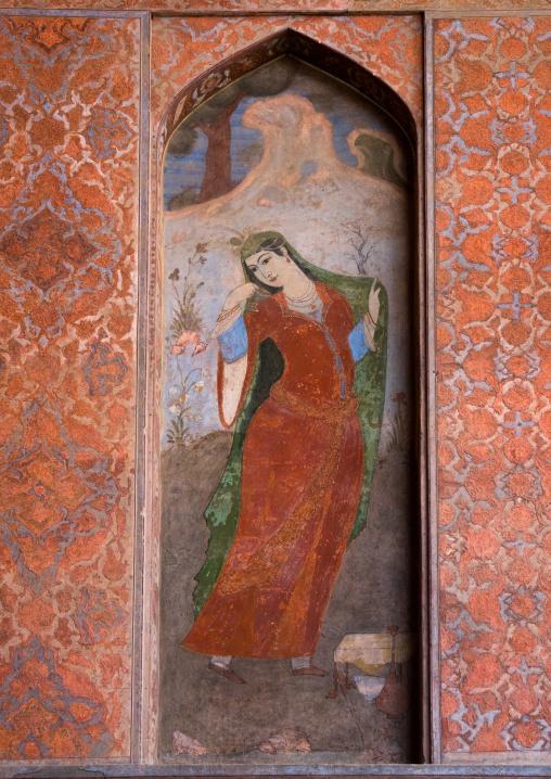 fresco at ali qapu palace depicting persian woman, Isfahan Province, isfahan, Iran