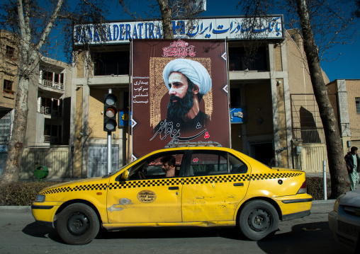 Sheikh nimr al-nimr propaganda billboard in the street after his execution by saudi arabia, Isfahan province, Isfahan, Iran