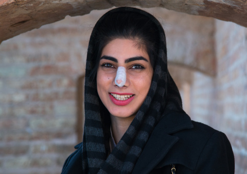 young woman after nose plastic surgery, Isfahan Province, isfahan, Iran