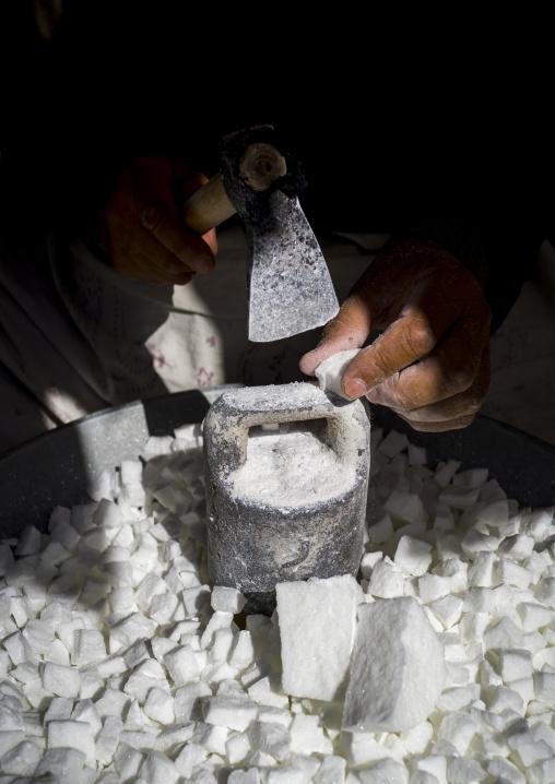 Men Crashing Sugar In The Bazaar, Sanandaj, Iran