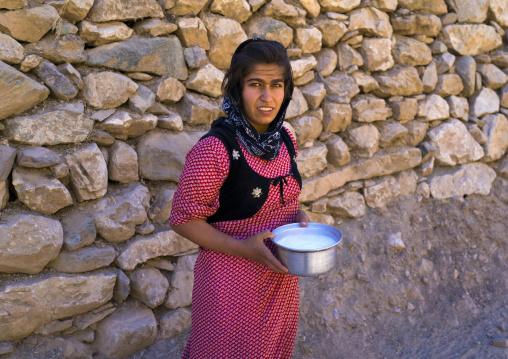 Woman Collecting Goat Milk In The Old Kurdish Village Of Palangan, Iran