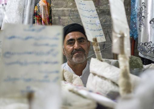 Man Selling Spices In The Bazaar, Kermanshah, Iran