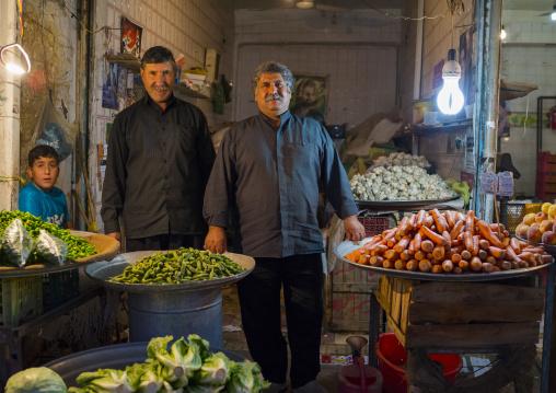 Men Selling Fruits In The Bazaar, Kermanshah, Iran