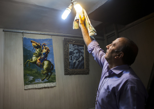 Man Cleaning A Lamp Inside The Old Bazaar, Tabriz, Iran