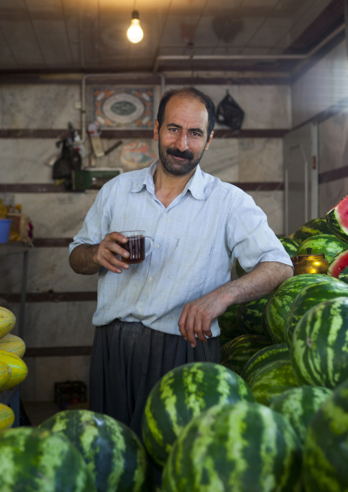 Man Selling Watermelons In The Bazaaz, Sanandaj, Iran