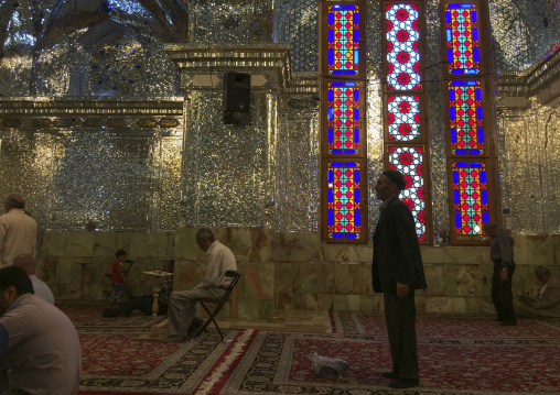 The stained glass windows of the prayer hall of the shah-e-cheragh mausoleum, Fars province, Shiraz, Iran