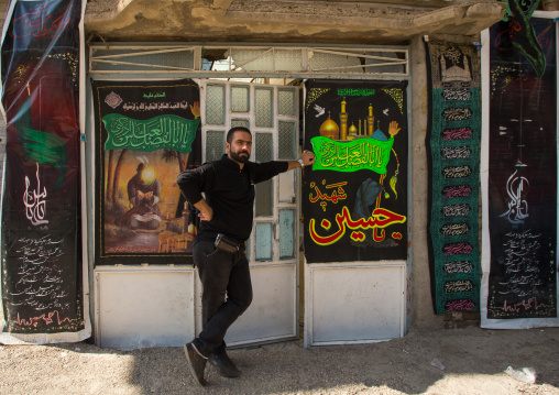 Man In Front Of His Shop During Chehel Menbari Festival On Tasua Day, Lorestan Province, Khorramabad, Iran