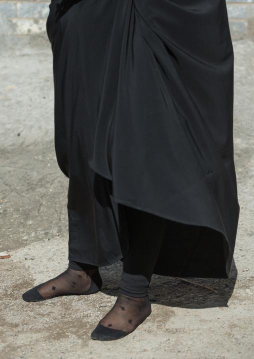 An Iranian Shiite Woman Walks In Stocking Feet During The Chehel Manbar Ceremony A Day Before Ashura, Lorestan Province, Khorramabad, Iran