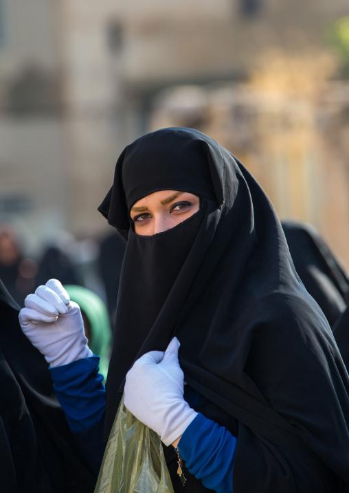 Iranian Shiite Muslim Woman Wearing A Niqab Mourning Imam Hussein On The Day Of Tasua, Lorestan Province, Khorramabad, Iran