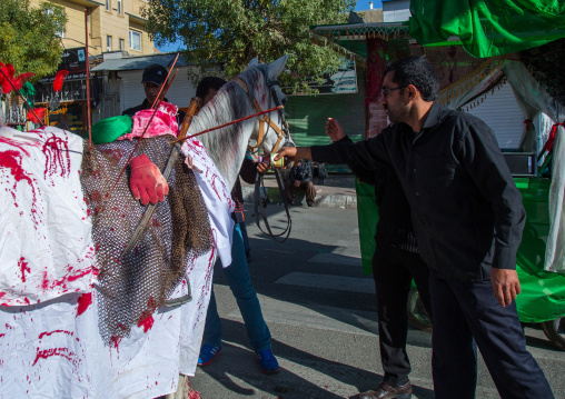 Horse Of Iman Hussein With Fake Blood On It During The Parade Of Ashura Celebrations, Kurdistan Province, Bijar, Iran
