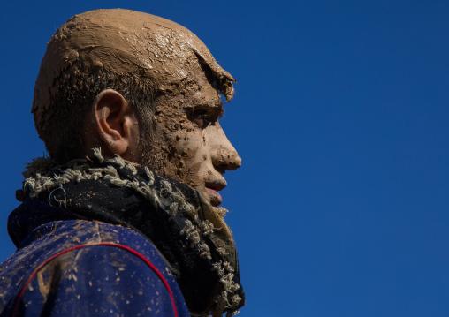 Iranian Shiite Muslim Man Covered In Mud During Ashura Day, Kurdistan Province, Bijar, Iran