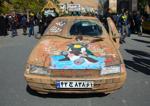Car Covered With Mud Decorated For Ashura Shiite Celebration, The Day Of The Death Of Imam Hussein, Kurdistan Province, Bijar, Iran