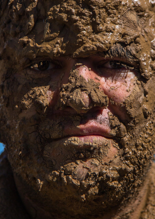 Iranian Shiite Muslim Man Covered In Mud During Ashura, The Day Of The Death Of Imam Hussein, Kurdistan Province, Bijar, Iran